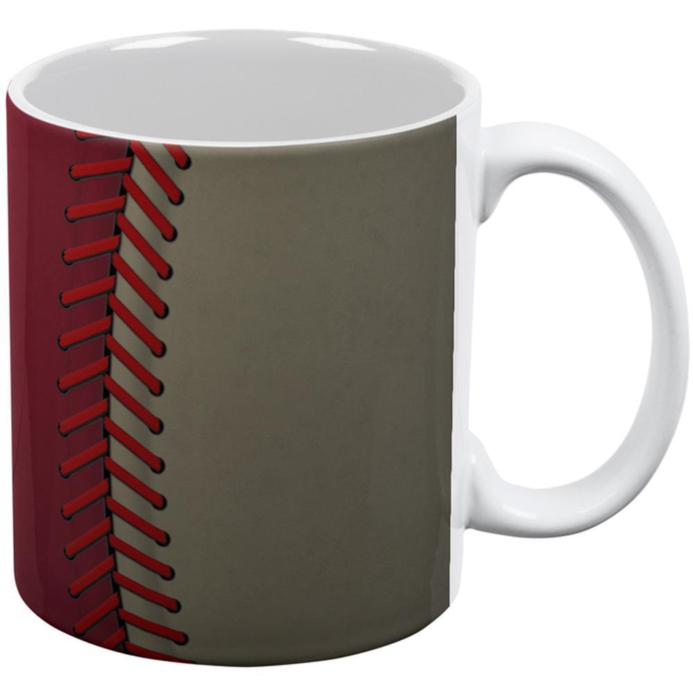 Baseball League Red and Sand All Over Coffee Mug