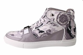 Versace Collection V900357 Grey Camo Print Hi Top Canvas Fashion Sneakers Shoes image 2