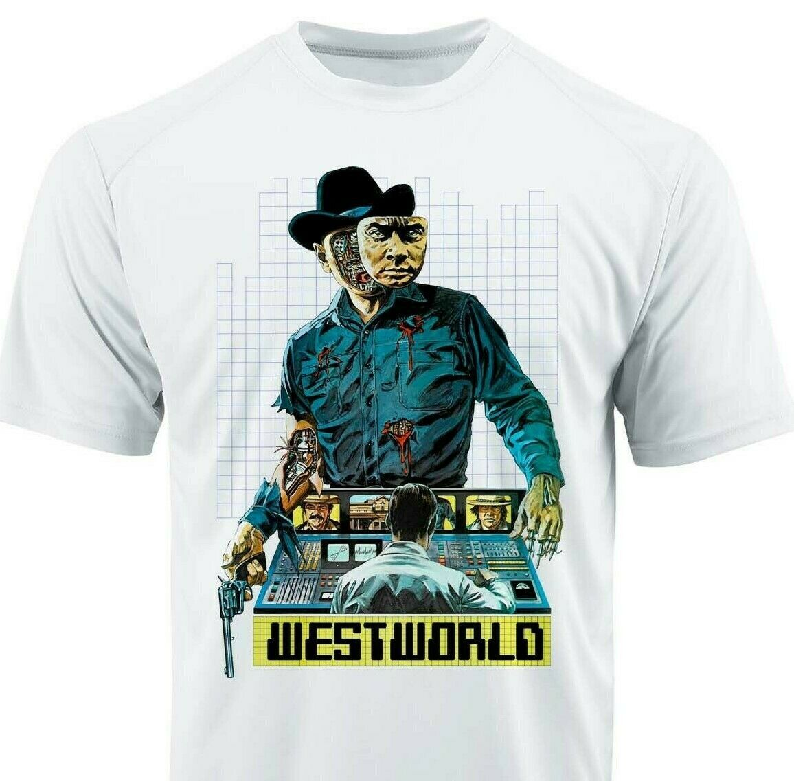 Westworld Dri Fit graphic Tshirt moisture wicking superhero comic SPF tee