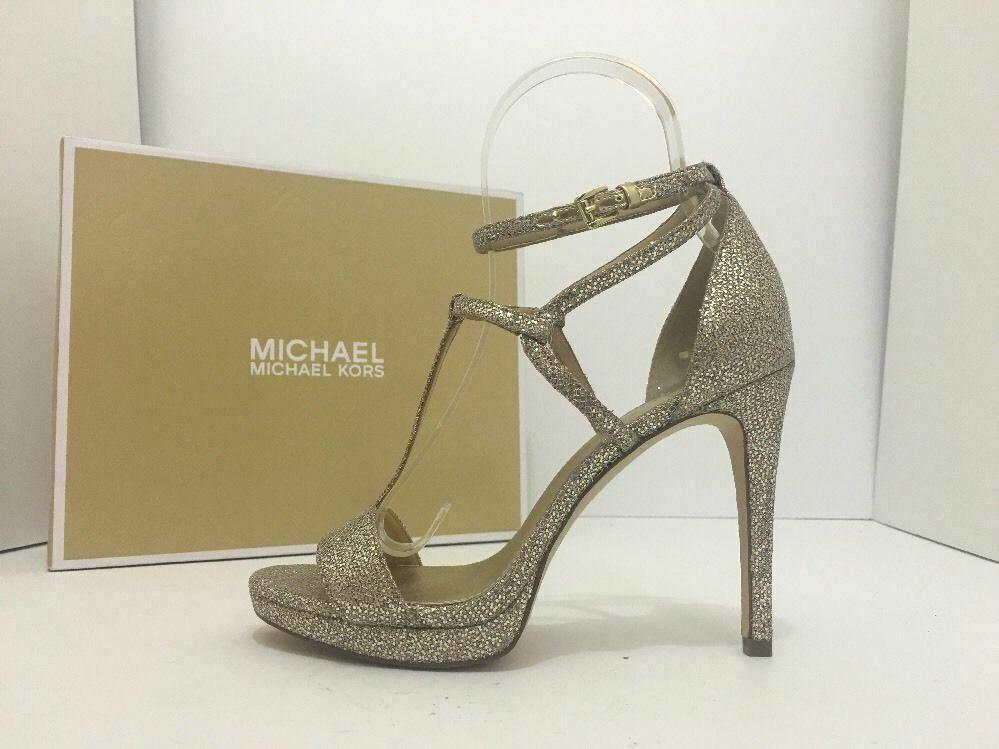 Michael Kors Simone Women Evening Platform High Heels Sandals 6.5 Silver Glitter image 3