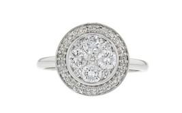 0.90ct Diamond 14k White Gold Halo Ring Size 7 - £662.98 GBP