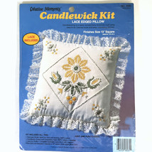 """Yellow Daisy Candlewick Kit Lace Edged Pillow 8265 Creative Memories 13""""... - $14.84"""