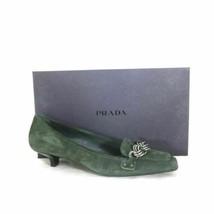 37 / 7 - PRADA Dark Green Suede Kitten Heel Square Toe Shoes w/ Box 1105LU - $75.00