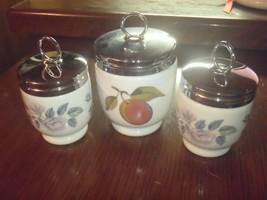 Set of 3 Royal Worcester Egg Coddlers Flowers and Fruit Porcelain England - $37.04