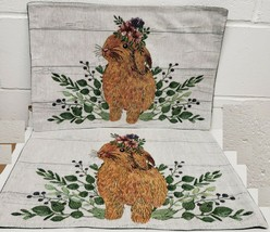 "Set of 4 Tapestry Kitchen Placemats,13""x19"",EASTER RABBIT &FLOWERS,green... - $21.77"