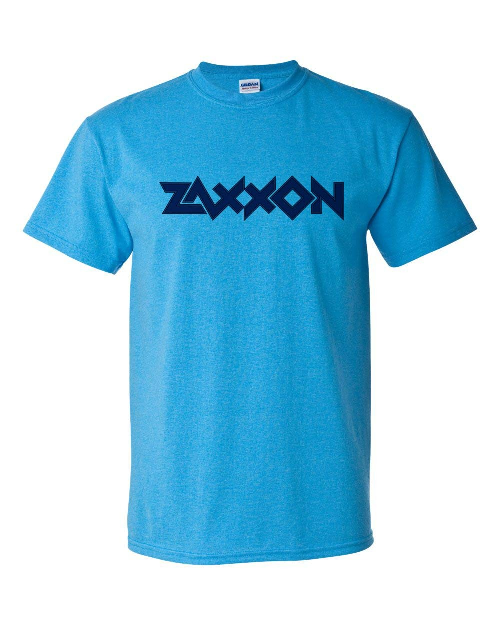 Zaxxon T-shirt arcade video game 80's heather blue cotton blend graphic tee
