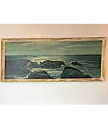 Robert Wood The Silver Sea Dark Ocean Scene Canvas Painting Framed 50x21... - $99.95