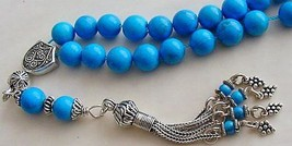 GREEK KOMBOLOI STERLING SILVER AND TURQUOISE WORRY BEADS - $94.05
