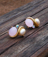 Vintage Trifari TM Pink Moonglow Cabochon Faux Pearl and Rhinestone Post... - $125.00