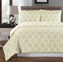 Meridian Beige & White Reversible Duvet Cover Bedding Set - Cotton - ALL... - $66.49+