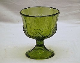 Old Vintage Harvest Green by Colony Footed Planter Pressed Glass Grape Pattern - $26.72