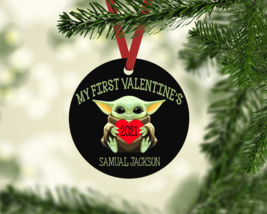 MY FIRST VALENTINE'S BABY YODA 2021 PERSONALIZED NAME METAL ORNAMENT GIF... - $9.85