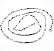 18K WHITE GOLD CHAIN MINI BONE TUBE LINK 1.5 MM, 20 INCHES, MADE IN ITALY  image 1