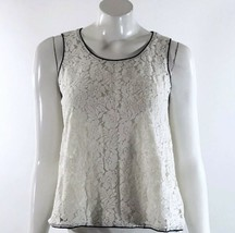 Forever 21 Womens Tank Top Size Small White Black Lace Flowy Sleeveless Shirt - $3.41