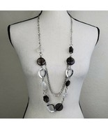 "Chunky Silver Tone Black Beaded Necklace 38"" Long Statement Multi Strand - $19.99"