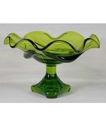 Viking Art Glass Avocado Green Epic Drape Comport with Arching Thumbprin... - $47.00