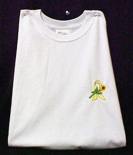 Yellow Ribbon Sunflower T-Shirt S White Liver Bladder Cancer Spina Bifida New image 2