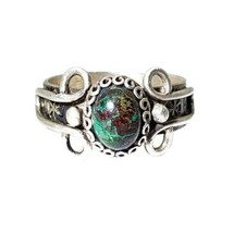 Southwestern 925 Sterling Silver Chrysocolla Gemstone Stamped Band Ring ... - $34.64