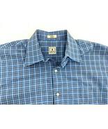 Peter Millar Mens Large Cotton Blue Button Up Long Sleeve Shirt Plaid Check - $24.18