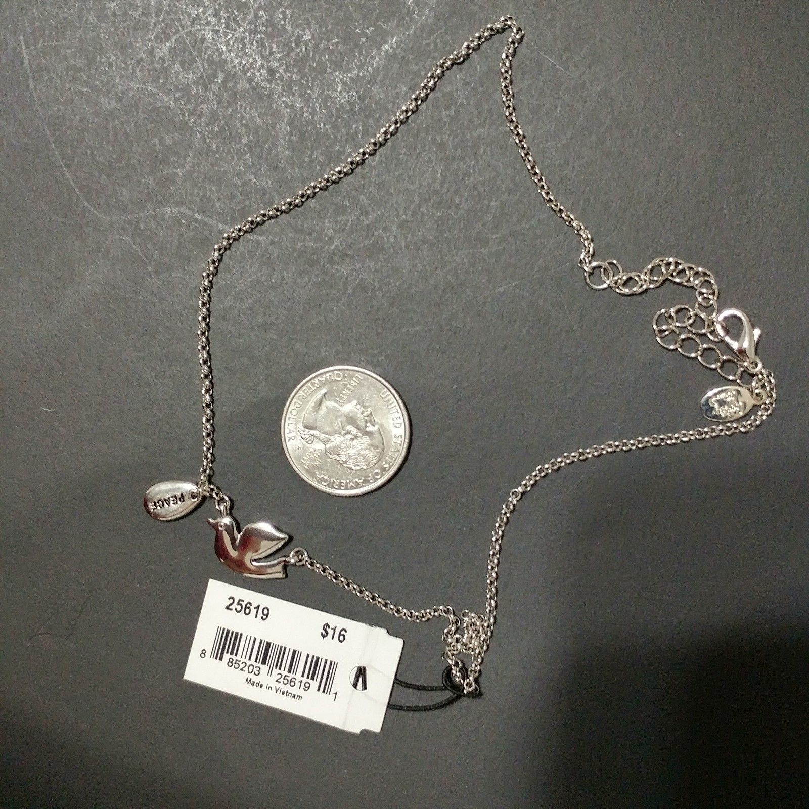 """Cookie Lee Necklace Dove Peace Charm 18"""" NWT"""