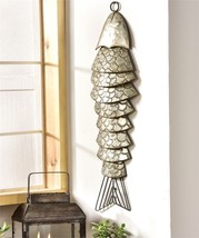 "31.5"" Segmented Metal Fish Design Wall Decor  w  Sculpted Metal Fishtail Detail"