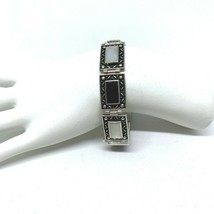 Black Onyx and Mother of Pearl Sterling Silver Bracelet Link Cuff Tribal... - $79.14