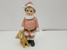 "Enesco Child Santa Figurine 1984, E-6442, Teddy Bear, 7.5"" Tall, Limited... - $25.39"