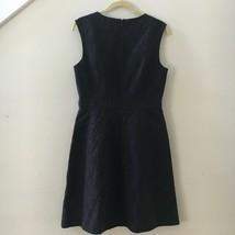 J. Crew Black Textured Embroidered Eyelet Jacquard Lined Dress Sz 6 Retail $158 image 2