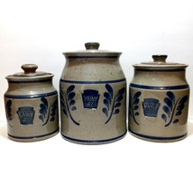 Vintage Westerwald Heinz 57 Pottery Stoneware Canister Set - Artist Signed - $112.17