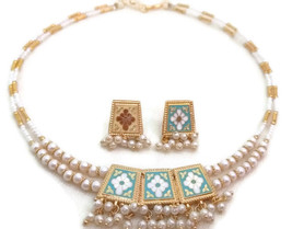 Indian Bridal Necklace Reversible Gold Plated Blue Brown White Pearl Jewelry 2S - $14.95