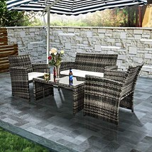 Ecolinear 4pcs Rattan Sofa Cushion Seat Outdoor Wicker Furniture Convers... - $183.19