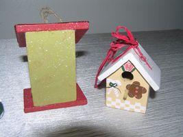 Vintage Lot of 3 Red & Cream Painted Wood & Metal Checkboard Roof Gingerbread  image 6