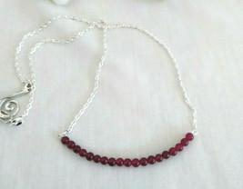 Necklace with  Ruby Gemstones Natural Gemstone Sterling Sliver 4mm size ... - $21.61