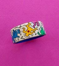 Art Bangle from wood handmade acrylic painting  Keith Haring Jewelry Lad... - $23.27