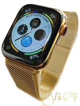 24K Gold Plated 44MM Apple Watch SERIES 5 Gold Milanese Loop Stainless S... - $1,307.72