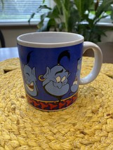 "Vintage Disney Store Aladdin Genie Large Mug Oversized Cup 5"" Faces Blue - $11.19"