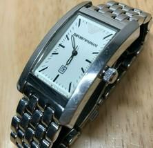 Emporio Armani Men Lady Silver Steel Curved Analog Quartz Watch Hour~New... - $28.49