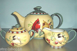 Lenox Winter Greetings Everyday Teapot, Sugar Bowl & Creamer 3 Piece Set NEW - $275.90