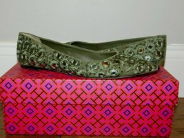 $378! Tory Burch Yasmin Green Leather Beaded Embroidered Ballet Flats Shoes 6.5 - $141.57