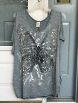 Faded Glory Plus 3x Cold Shoulder Womens Butterfly Shirt Top Blue White ... - $16.99
