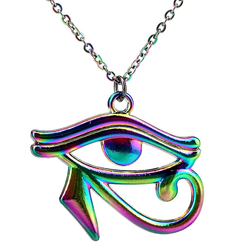 "Primary image for 20"" Rainbow Color Egyptian Eye of Horus Ra Amulet Pendant Charms Necklace Beauty"