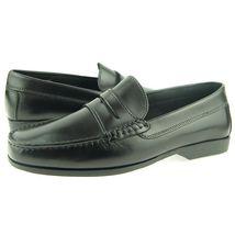 Men Black Color Moccasin Loafer Slip Ons Apron Toe Vintage Leather Classic Shoes image 2
