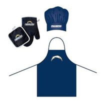 NFL LA Los Angeles Chargers Barbeque Apron, Chef's Hat and Pot Holder Deluxe Set - $27.86