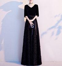 Women Half Sleeve Velvet Maxi Dress High Waist Formal Dress, Black, Plus Size image 2