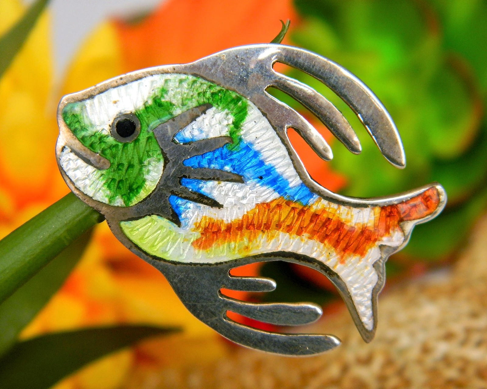 Primary image for Vintage Fish Brooch Pin Taxco Mexico Enamel Sterling Silver JF Signed