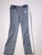 Nike Girl's Active Pants Athletic Workout Gray White Stretch Waist - $23.55