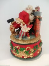 Santa Claus is Coming to Town Music Box Santa Elf Fire Place Puppy Dog F... - $25.00