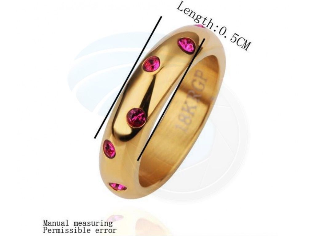 Size 9 Steel 18K Rose Gold Plated Rhinestone Crystal Lady Women Ring