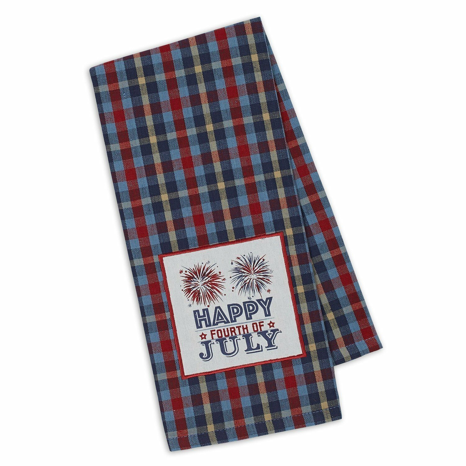 Primary image for Happy Fourth of July Dish Towel Embellished New Cotton Kitchen Tea Fireworks 4th