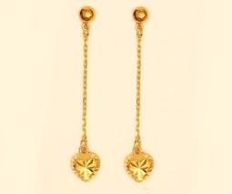 18k gold drop / dangling heart earring #30 - $296.01